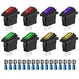 Gebildet 8Pcs Wasserdichtes Auto EIN/AUS SPST 3 Pin 2 Position 12V/24V/125V/250V-15A, KCD3 Kippschalter (Rot/Gelb/Grün/Blau) + 16Pcs Klemmen