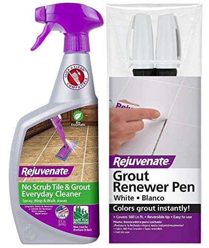 Rejuvenate Bio-Enzymatic Safe & Scrub Free Tile & Grout Cleaner Lightens and Brightens Every Time (32oz) w/ Rejuvenate White Grout Restorer Marker Pens Restore and Renew Grout in Minutes 2 Units Pack