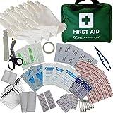 110-teiliges hochwertiges Erste-Hilfe-Set – beinhaltet Augenwasser, Verbandszeug, 2 Kühlpacks und eine Rettungsdecke für Reisen, zu Hause, im Büro, Auto, Wohnmobil, Camping, Arbeit (grün)