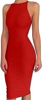 BEAGIMEG Women's Spaghetti Strap O Neck Bodycon Midi Club Party Dress