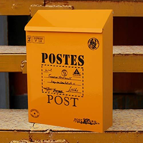 E-mail brievenbus - zinkplaat, Europese metalen waterdichte buitenmuur opknoping creatieve tuin kranten doos, geschikt voor villa's, binnenplaatsen, huizen - 2 stijlen, 5 kleuren beschikbaar muurbevestiging brievenbussen B ORANJE