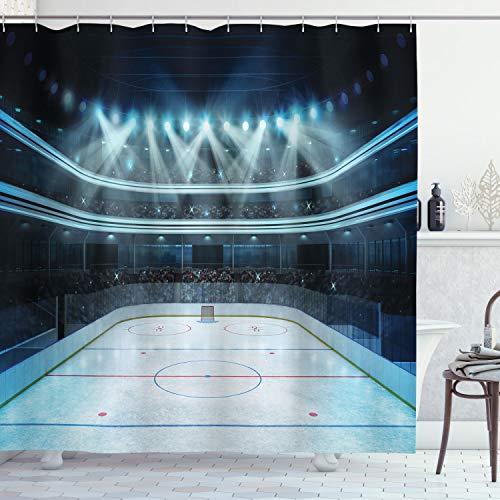 ABAKUHAUS Eishockey Duschvorhang, Sport Arena Foto Fans, Wasser Blickdicht inkl.12 Ringe Langhaltig Bakterie & Schimmel Resistent, 175 x 200 cm, Dunkelblau
