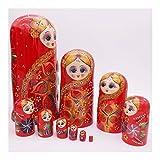 DLRB Muñecas de anidación Rusa Juego de 10 Piezas Lindo Matryoshka Decoración del hogar Decoración de Madera Juguete Educativo Creativo (Color : Red)