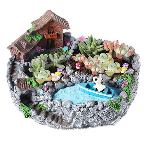 T4U 20cm Mikro-Landschaft Blumentopf, Sukkulenten Kakteen Topf Groß für Garten und Zimmerpflanzen, Mini Garten Balkon Deko