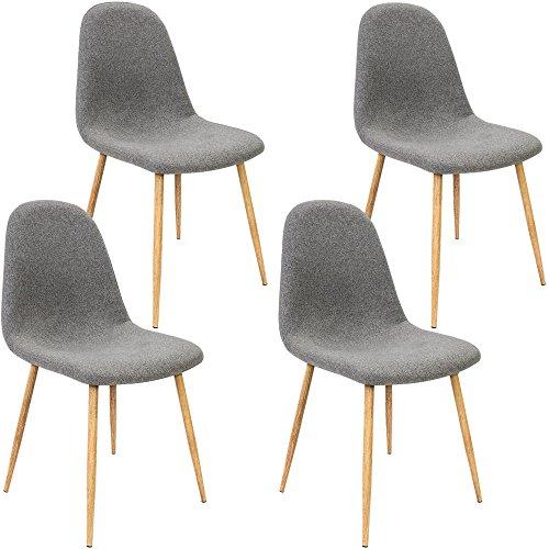 Deuba 4 x Esszimmerstuhl Küchenstuhl Polsterstuhl Design Stuhl mit Rückenlehne dunkelgrau 4er Set Esszimmerstühle