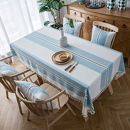 HTUO Nordic Wipe Clean Tablecloth Cotton Linen Jacquard Table Cover Christmas Solid Color Tablecloth Rectangular Restaurant Tablecloth Coffee Table Dust Proof Table Cover 100 * 160cm