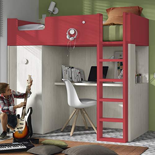 Meubles ROS Lit Mezzanine avec Bureau et Armoire - 181,1x203,8x115,6 cm (Chêne/Corail, Échelle à la Droite)