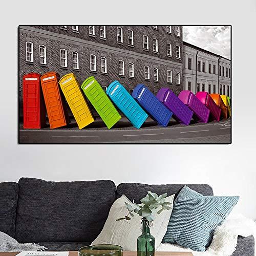 IHlXH London Rainbow Telefonzellen Streetscape Poster Leinwandmalerei Wohnzimmer Wandposter Kunstdrucke City Modern Street View A2 50x70 ohne Rahmen