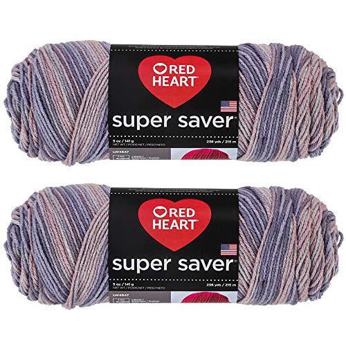Bulk Buy: Red Heart Super Saver (2-Pack) (Mulberry, 5 oz Each Skein)