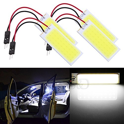 S&D 4-Pack Car Interior Bulbs 36 LED COB Super Bright Dome Lights Reading Door Light Panel Lights With T10 BA9S C5W Adapter 6W White
