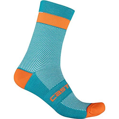 castelli Alpha W 15 Sock Calcetines, Mujer, Azul Cielo/Rojo, Large-X-Large