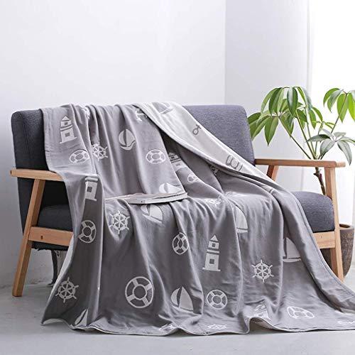 Mantas de cama, la toalla era una manta de algodón Funda fina Edredón de aire acondicionado Four Seasons Sábanas de manta de siesta ponderadas universales Manta ligera para cama o sofá (Color: Gr
