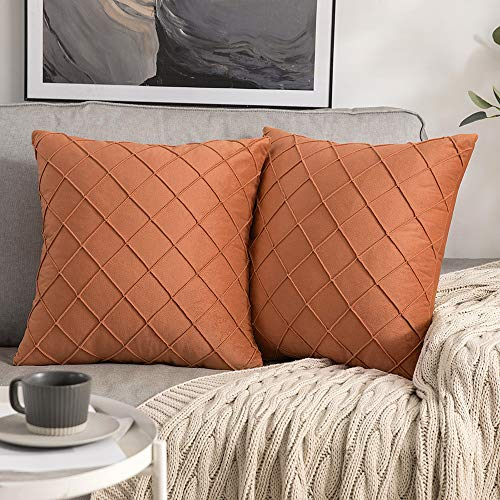 MIULEE Pack of 2 Velvet Cushion Cover Square Pattern Decorative Throw Pillow Cover Super Soft for Living Room Bedroom Sofa Orange 45 x 45 cm 18 x 18 Inch