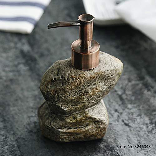 ZJMIQT Dispensador De Jabón,Cerámica Creativa Irregular De Piedra Vintage Botella De Champú...