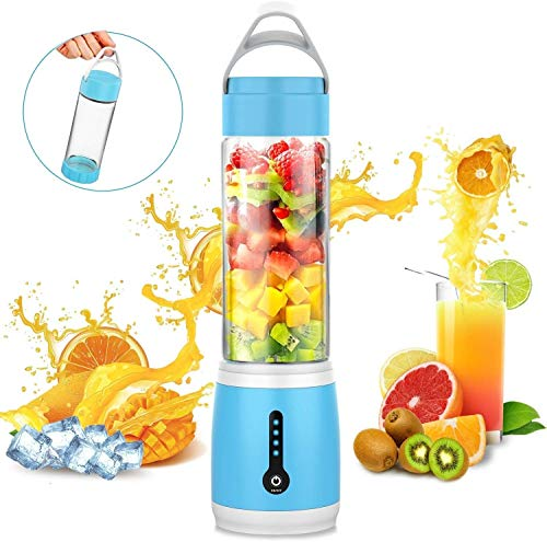 QIYUE Portable Blender, Travel Blender for smoothies en shakes, Six Blades Fruit Mengmachine Met 4000mAh USB oplaadbare batterijen, Ice Tray, Afneembare Cup