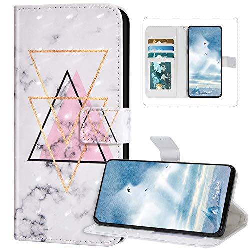 Kompatibel mit Handyhülle Xiaomi Mi 10 Hülle Leder,Xiaomi Mi 10 Klapphülle Handytasche 3D Bunt Bling Glitzer Muster Tasche Leder Flip Hülle Lederhülle Wallet Schutzhülle,Marmor Dreieck