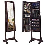 SONGMICS 6 LEDs Mirror Jewelry Cabinet Armoire, Lockable Free Standing...
