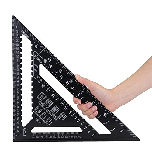 Regla triangular de aleación de aluminio con sistema métrico/británico de 12 pulgadas, transportador cuadrado de velocidad, regla de medición de inglete de doble escala para herramientas de carpintería y carpintería (sistema métrico de 12 pulgadas, negro)