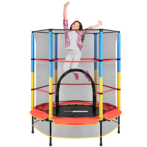 VIVOHOME 55 Inch Kids Trampoline with Protecting Net and Safety Pad, Heavy Duty Frame Round Trampoline with Built-in Zipper, Max Load 110lbs