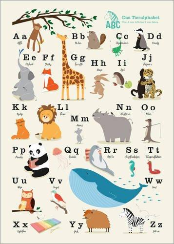 Poster 30 x 40 cm: Das Tieralphabet von Sandy Lohß - hochwertiger Kunstdruck, neues Kunstposter