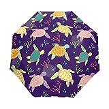 Hunihuni Parapluie Pliable à Ouverture Automatique Motif Tortue de mer Imperméable Coupe-Vent Anti-UV Protection Solaire