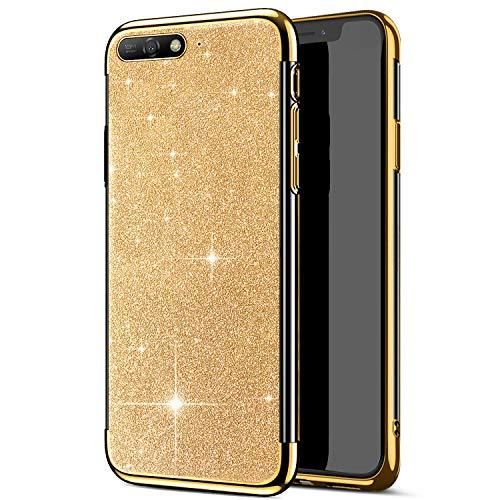 Funda ultrafina compatible con funda Huawei Y6 2018, carcasa brillante, transparente, funda de silicona TPU suave, carcasa trasera para teléfono móvil, funda transparente dorado