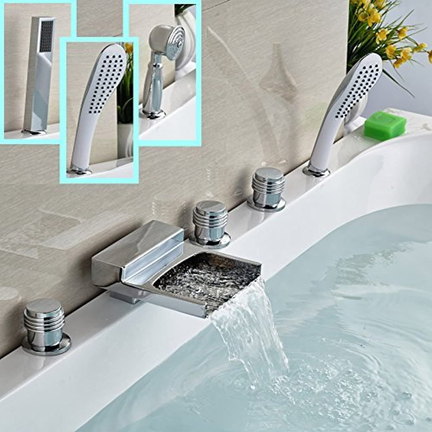 Deck Mount Glass Fitting 5 Units Wide Spread in Brass spout Waterfall Whirlpool Front seat Frames + Hand Shower 3-Styles