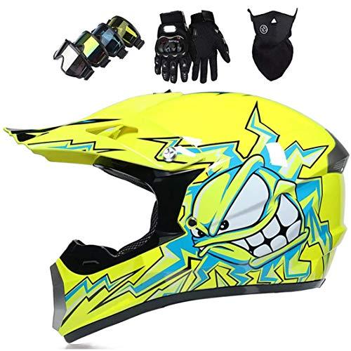 Casco integral de motocross, Casco de protección para motocicleta para adultos, Casco todoterreno para niños para Downhill Quad Bike Enduro Racing Dirt Bike, Casco MX Cross con Gafas Máscara Guantes
