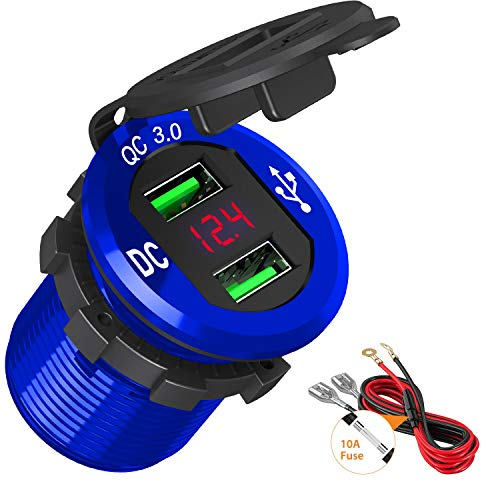 Quick Charge 3.0 USB Car Charger, BAODANTECH 12V/24V 36W Aluminum Waterproof Dual QC3.0 Fast Charge Socket Power Adapter Outlet with LED Voltmeter for Marine Boat Motorcycle RV Golf Cart (Blue)
