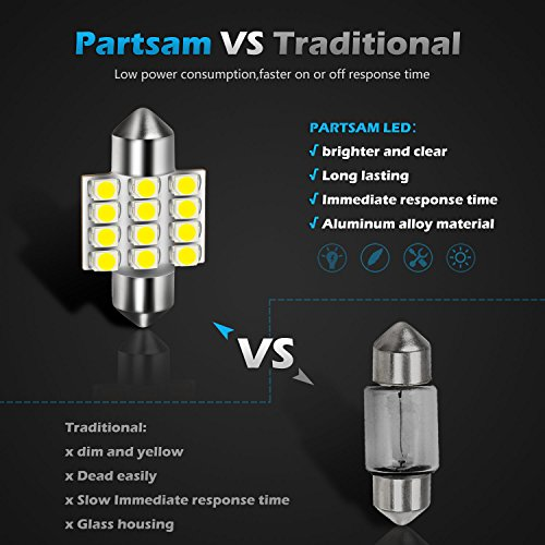 Partsam 31mm 4Pcs White LED Light Bulbs Error Free Canbus DE3021 3175 for Interior Lights Map Dome Door Courtesy Light Bulbs