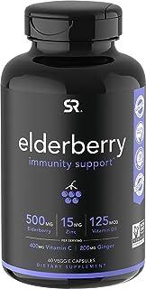 Sports Research Elderberry 60 Veggie Capsules with Vitamin D3, Zinc and Vitamin C ( Sambucus )