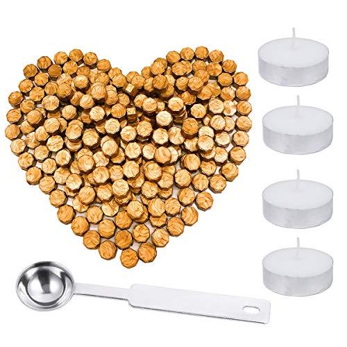 Lot de 200 bâtons de cire octogonaux avec boîte de rangement + 4 bougies chauffe-plat + 1 cuillère à cacheter pour cacheter la cire, 5 couleurs (doré)