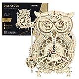 HMANE Owl Clock Kit 3D Wooden Puzzle, 161Pcs DIY Owl Puzzle Model Owl Clock Craft Toys Building Mechanical Puzzle Jigsaw