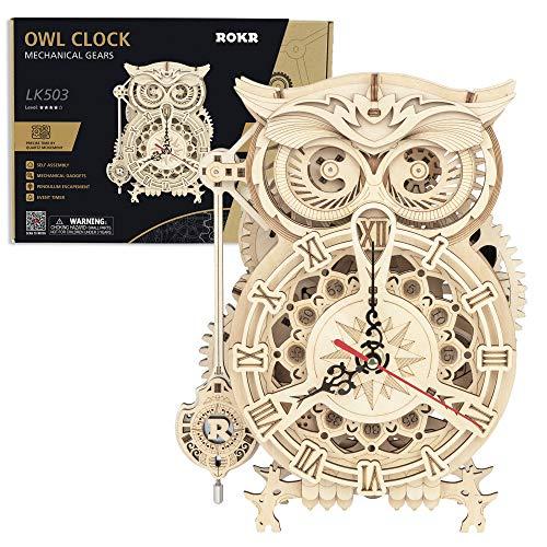 Likecom Juego de 161 piezas de madera mecánica con diseño de búho y reloj de modelo, puzzle de madera 3D, corte láser, juguete único, regalo creativo y juguete educativo