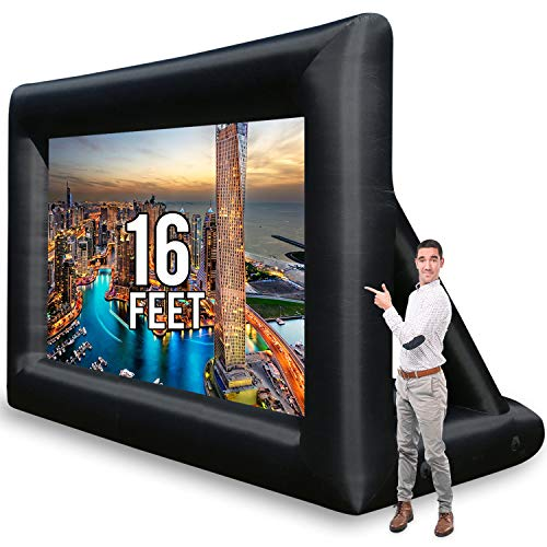 Jumbo 16 Feet Inflatable Outdoor and Indoor Theater Projector Screen - Includes Inflation Fan, Tie-Downs and Storage Bag - Supports Front and Rear Projection