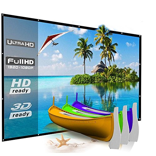 150 Inch Projector Screen Portable Outdoor Movie Screen, YF2009 Big Size Folding HD Projection Screen 16:9 for Home Theater/Office Presentation/Camping/Party, Easy to Hang and Install on Mount/Wall