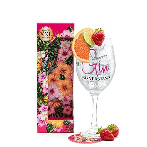 HISA DARIL Vaso de cóctel XXL edición veraniega. Regalo de cumpleaños para mujeres, regalos para mamá, vasos de ginebra con ginebra