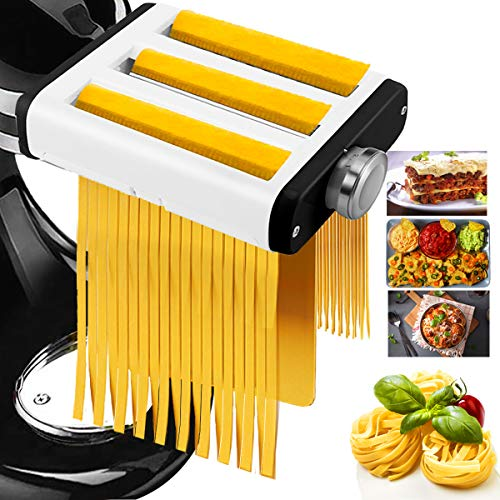 easy pasta doughs 3 In 1 Pasta Maker Attachment for All Kitchenaid Mixers, Noodle Ravioli Maker Kitchen Aid Mixer Accessories Including Dough Roller Spaghetti Cutter Fettuccine Cutter - Homemade Fresh Pasta Easily!