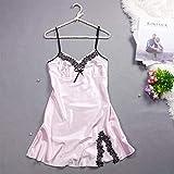 HUANSUN Dress For Women Homewear Silk Sleepwear Nightdress Summer Lingerie Nightgown Female Off Shoulder Nightwear Girl New Lace,Pink,M