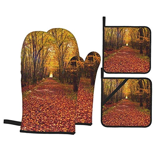 Opiadco Dry Leaf Forest Oven Mitts and Pot Holders Sets of 4,Resistant Hot Pads with Polyester Non-Slip BBQ Gloves for Kitchen,Cooking,Baking,Grilling