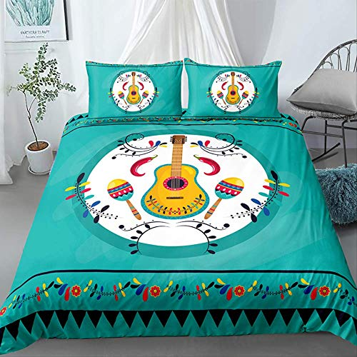 JGYJ Duvet Cover Set With Zipper Closure, Music Guitar Bedding Set Multicolor, King Queen Size Cotton 3 Pcs, For Child Teenager 150x200cm green