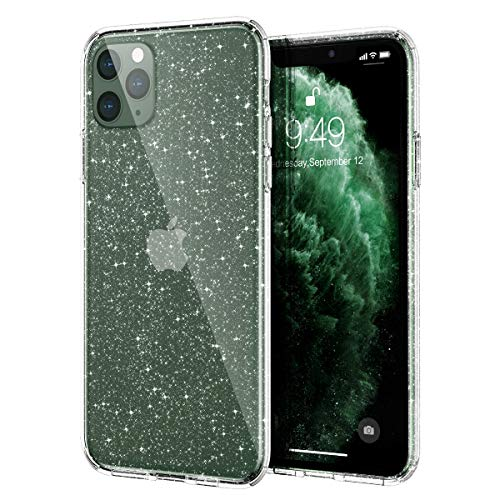 Meifigno Glitter iPhone 11 Pro Case, Hard Back with Soft TPU Bumper, [Military Grade Protection] with Air Bag, Slim Shiny Clear Bling Case for iPhone 11 Pro 5.8 inch 2019, Glitter Crystal