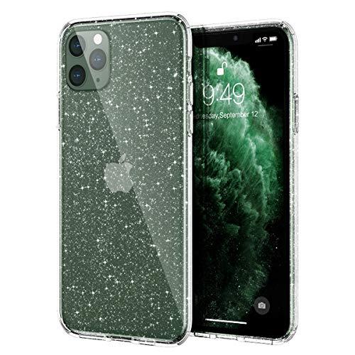"""Meifigno Glitter iPhone 11 Pro Max Hülle mit Panzerglas, Harter Rücken mit weichem TPU-Stoßfänger, [Militärschutz] mit Luftkissen, glänzende, Glitzer Hülle für iPhone 11 Pro Max 6,5\"""", Glitter Crystal"""