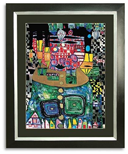 Kunstdruck Bild Hundertwasser Antipode King mit Rahmen 94 x 76 cm ++ SALE ++