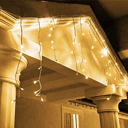 EAMBRITE 320 LED Carámbano Luces de Hadas 19.2m Cortina de Luz LED Blanca Cálida Cadena de Luces para Hogar Fachada Boda Navidad