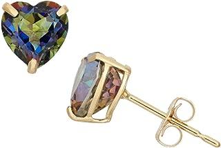 Solid 10KT Yellow Gold Semi Precious Genuine Dainty Gemstone 6MM Heart Shaped Birthstone Stud Earrings For Women, Girls and Teens