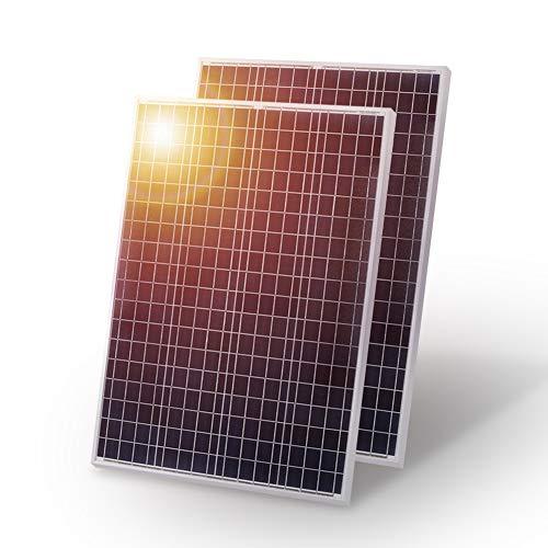 Panel solar DOKIO de 200 W, 2 unidades, 100 W, policristalino, ideal para carga de batería de 12 V en casa, barcos, caravanas, autocaravanas y autocaravanas