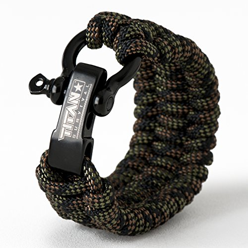 TITAN Paracord Survival Bracelet | DRAGONSCALE | Medium (Fits 7' - 8' Wrist) | Made with Authentic Patented SurvivorCord (550 Paracord, Fishing line, Snare Wire, and Waxed Jute for Fires).