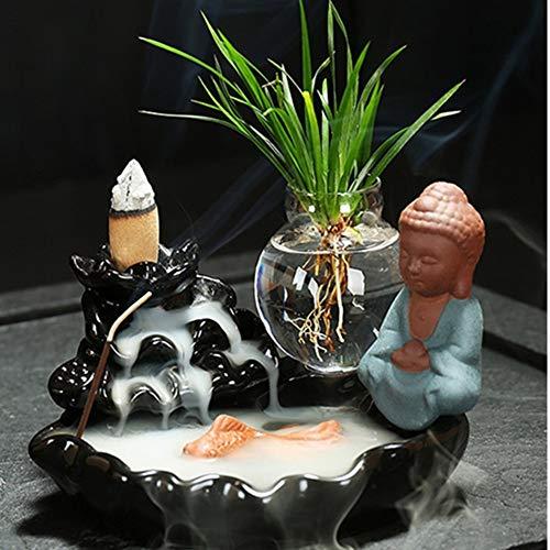 Yinsen Backflow Incense Burner Home Sandalwood Tea Ceremony Glass Incense Holder Ornaments + 20 Cones