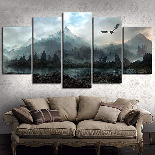 Moda Pintura Lienzo 5 Piezas de Arte HD Cuadro de la Pared Juego de Tronos Dragón Skyrim Aceite de la Pintura Mural en la Lona for la decoración de la Sala de Estar